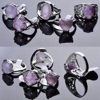 anillos de piedra amatista al por mayor-30 piezas Joyería de moda Anillo de piedra natural Amatista Anillos de gemas Anillos de moda para la fiesta de plata Joyas de anillos de piedras preciosas