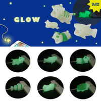 Wholesale glow dark animals online - Glow In Dark Cable Chompers Charger Cable Protector for Iphone Luminous Cable Biters Animal Dog Cat Protective Cord Novelty Items OOA5515
