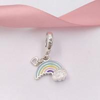 ingrosso fascini europei del rainbow-Autentico 925 sterling silver beads arcobaleno di amore ciondolo fascino charms adatto europeo pandora gioielli stile bracciali collana 797016ENMX