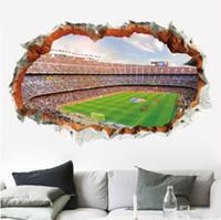 futbol çıkartmaları toptan satış-3D Pencere Görünüm Duvar Sticker Çıkartması Sticker Ev Dekor Oturma Odası Futbol Dünya Kupası dekorasyon 3D stereoskopik su geçirmez Duvar Kağıdı Duvar Sanatı