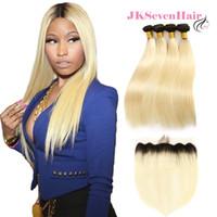 sarışın saç telleri toptan satış-Düz Bakire Brezilyalı 1B Sarışın İnsan Saç Uzantıları 4 Demetleri Ile Dantel Frontal Iki Ton 613 Rus Avrupa Remy Saç Örgüleri