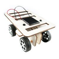 mini güneş araba yarışçısı toptan satış-2018 DIY Güneş Oyuncak Araba Araya Güneş Araç Mini Enerji Toz Oyuncak Racer Çocuk Çocuk Araba Eğitim Seti