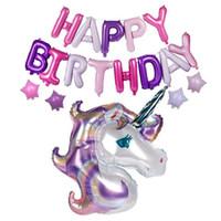 şişirilebilir folyo harfleri toptan satış-Unicorn Mutlu Doğum Günü Folyo Balonlar Mektuplar Alphabe Helyum Hava Şişme Balonlar Çocuk Oyuncak Parti Doğum Günü Çocuklar Yetişkin Olay Parti malzemeleri