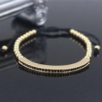 weibliche zöpfe großhandel-Mode Gold Farbe Weibliche Justierbare Armbänder Armreifen Anil Arjandas Micro Pflastern CZ Charme Flechten Makramee Armband Schmuck