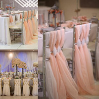 Wholesale events party supplies - 65*200 cm cheap Wedding Chair Sashes Chiffon bridal Chair Sashes Custom Made Wedding Party Event Decorations Wedding Supplies