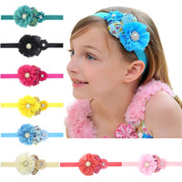 Wholesale big flower hair band girl for sale - Group buy 10pcs Headbands Newborn Girl Chiffon Fabric Big Flower Crown Hair Bows Head Bands For Party High Elastic Hair Accessories H036