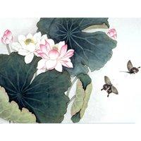 mariposa de loto al por mayor-5D Diy Diamante Pintura punto de Cruz Rhinestone Pintura Diamante Bordado Decoración Del Hogar Regalo, Lotus Hoja Lotus Mariposa
