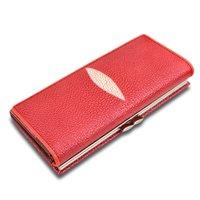 piel genuina al por mayor-HH Stingray Piel de cuero genuino Moda Mujer Carteras largas Diseñador de la marca Clutch Purse Lady Party Wallet
