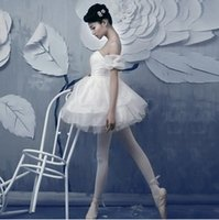 traje de ballet de tutu blanco al por mayor-Gimnasia para adultos Profesional Swan Lake Tutu Ballet Blanco Disfraz Bailarina Niñas Vestido Leotardo Mujeres Performance Dancewear