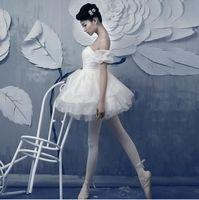 ingrosso vestiti da tutu per le donne adulte-Ginnastica professionale per adulti Swan Lake Tutu Costume da balletto bianco da bambina Ballerina Dress da donna Performance Dancewear