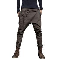 düşük kasık pantolon erkekler toptan satış-Erkekler Harem Pantolon Moda 2018 Rahat Pantolon Erkekler Pantolon Düşük Kasık Pantolon Joggers Ayaklar asılı kasık