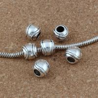 silber baseball armband großhandel-Großes Loch-Antike-Silber-Legierungs-Korn-Baseball-Softball-Charme passten Pandora-Armband-europäische Charme-Schmuck-Korne, die 9x10.5mm F-1 sind