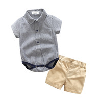 Wholesale quality baby boy clothes resale online - baby boy Designer clothing romper sets turn down short sleeve stripped print romper short cotton high quality boy baby romper clothes