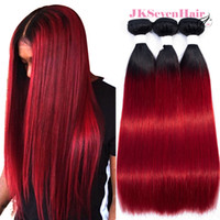 Wholesale red remy indian hair weft resale online - 1B Red Ombre Brazilian Virgin Human Hair Bundles Straight Dark Root Red Malaysian Peruvian Indian Remy Hair Wefts