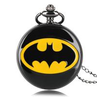 erkekler için siyah cep saatler toptan satış-Batman Siyah Modern Kuvars Pocket saat Kolye Tam Hunter Kadın Erkek Fob Saatler Boy Moda Saat Çocuklar Hediye