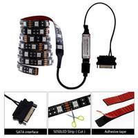 led-streifen computer großhandel-PC Computer Gehäuse 5050 RGB LED Streifen 50cm / 1m / 2m DC12V SATA Interface Controller und 17Keys RF Controller LED Streifen