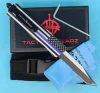 Wholesale serrated' knife for sale - Group buy New Blue Flag Inch Mini Auto Tactical Knife C Single Edge Tanto Serrated Blade EDC Pocket Knives
