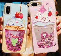 caja del teléfono brillo unicornio al por mayor-Nuevos estuches para teléfonos con purpurina líquida para iPhone 6 6s Plus Fundas Bling Unicorn Water Sequins Paris para iPhone 7 8 Plus X Funda DHL Free