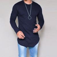 Wholesale fiber slim online – custom Black Tshirt Plus Size S xl xl Summer Autumn Fashion Casual Slim Elastic Soft Long Sleeve Men T Shirts Male Fit Tops Tee Drop Shipping
