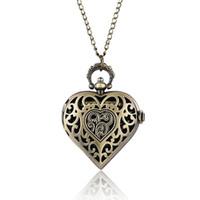 lindos regalos de enfermería al por mayor-Reloj de bolsillo lindo del cuarzo de la forma del corazón hermoso para la mujer Señora Girl Girlfriend Wife Necklace Relojes de la enfermera 2018 Perfect Gifts