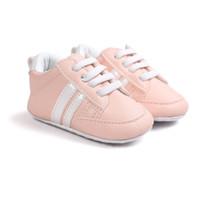 sıcak pembe bebek ayakkabıları toptan satış-Pembe renk sıcak satmak bebek ayakkabı kaymaz pu deri ayakkabı erkek bebek ilk yürüyüşe bx301
