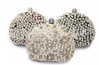 Wholesale imitation pearl bridal hand bags for sale - Group buy Amazing Full Pearls Crystal Beaded Bridal Wedding Hand Bags Ring Bag Ladies Evening Party Celebrity Small Clutch Dinner Bags