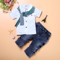 Wholesale boys wearing briefs - Children's wear and American boys handsome short sleeved jacket + jeans 3 suits
