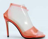 zapatos de tacón alto de color naranja al por mayor-2018 nuevas mujeres sandalias de PVC zapatos de la celebridad de color naranja zapatos de tacón alto zapatos de boda del talón fino de las señoras zapatos de PVC zapatos de gladiador