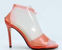 ingrosso i pattini dell'alto tallone di colore arancione-2018 nuove donne sandali in PVC celebrità scarpe di colore arancione tacchi alti scarpe da sposa tacco sottile donna partito scarpe in PVC gladiatore