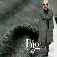tecido de tweed amarelo venda por atacado-150 cm de largura 620 g / m verde amarelo cor tweed 100% materiais de lã outono inverno casaco DIY roupas tecidos Freeshipping