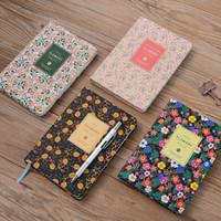 impresión de libros de cuero al por mayor-Vintage Pu-Leather Printing Flowers Notebook Diary Book 4 Color Weekly Planner Agenda 2018 Escuela Material de oficina Notebook