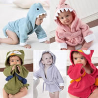Wholesale Nightgown Kids - Kids Flannel Bathrobe Shark Cotton Towels Hooded Nightgown