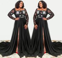 siyah sırf anne gelin elbiseleri toptan satış-Artı Boyutu Siyah Uzun Kollu anne Gelin Damat Elbiseler Bir Çizgi Bölünmüş Sheer Aplikler Sequins Resmi Düğün Parti Abiye giyim