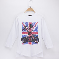 Wholesale New Arrival Girl S Long - 2018 New Arrival Children Clothes Kids T-shirts Full Retro Otorcycle 100% Cotton Child Shirt Boys Long T Shirts Baby Girls Tops Teen Tees