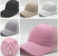 Wholesale Black Ponytails - Hot Women ponytail baseball hat Fashion Girl Softball hats back hole Pony Tail baseball cap Cheap Sun hat