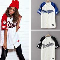 camisetas estilo beisbol al por mayor-Verano de las mujeres Hip Hop camiseta Harajuk mujeres camiseta del béisbol estilo coreano camiseta más el tamaño femenino ropa pareja camiseta Top