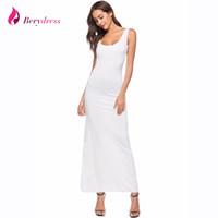 beyaz düz elbise stilleri toptan satış-Seksi Maxi Elbise 2018 Yaz Tarzı Kare Boyun Ayak Bileği Uzunluğu Düz Beyaz Vestidos Kolsuz Artı Boyutu Bordo Womens Elbiseler