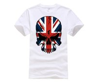 Wholesale uk t shirt printing - 100% cotton O-neck printed T-shirt Union Jack Day of Dead Skull T-shirt UK Tattoo Art Tee