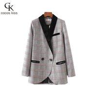 Wholesale Popular Blazers - 2017 New Fashion Popular Womens Blazers Coats Single Button V-neck Plaid England Style Lady Warm Autumn Blazers