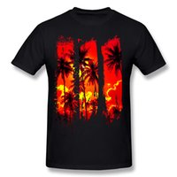 ingrosso magliette felpate per adulti-Speciale adulti Pure cotton Coconuts sunset T-Shirts Adult O-Neck Black Felpe a manica corta Big Size Printed on T-Shirts