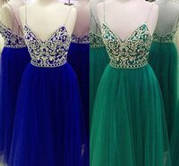Wholesale photo image art for sale - 2018 Green Royal Blue Prom Dress With Spaghetti Straps Bling Rhinestone Criss Cross Straps Back Designer Real Photo Evening Formal Dress