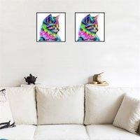 ingrosso vernici frameless per soggiorno-Cartoon Cat Cross Stitch DIY Diamante tondo Dipinti Frameless Home Living Room Decoration 5 5lx2 C R