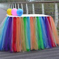 coberturas de mesa de festas venda por atacado-Multicolor Tule Tutu Saia De Mesa Utensílios De Mesa Para Festa de Casamento Decoração de Aniversário Lace Table Table Casa Têxteis Decorações WX9-870