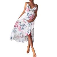 свадебные платья оптовых-Mother Irregular Ruffles Dress Women Sexy V-Neack Floral Print Summer Dress Spaghetti Strap Boho Beach Long Dresses Vestido