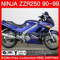 93 ninja verkleidungskit großhandel-Heiße Karosserie Für KAWASAKI NINJA ZZR-250 ZZR250 90 91 92 93 94 99 117HM.24 Fabrik blau ZZR 250 1990 1991 1992 1993 1994 1999 Verkleidung kit