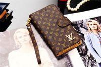 wallet case al por mayor-Para iphone x 6 6s 7 8 8 plus billetera de cuero de moda billetera flip case para galaxy s9 s8 plus s7 s6 edge note8 note5 marca de alta calidad