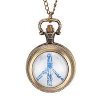 antike bronze halskettenentwürfe großhandel-Neue Friedenstaube Thema Design Uhren Antike Bronze Glaskuppel Anhänger Taschenuhr Mit Kette Halskette für Männer Frauen
