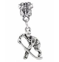ingrosso braccialetti di ballerina-Braccialetto d'argento del pendente dei pendenti di fascini del panda di fascini del colibrì del coniglio del colibrì del giocatore di Hockey del fiocco di neve d'argento dell'annata della ballerina
