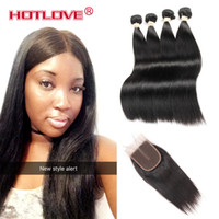 Wholesale Wholesale Black Natural Hair Products - Indian Virgin Human Hair Straight Closure with 4 Bundle Unprocessed Indian Straight Weaving Natural Black HOTLOVE Vendors Products Grade 8A