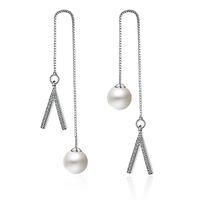 titan bärenschmuck großhandel-EH233 Trendy Damen Schmuck Chalcedon Amethyst kleine Perle Titan Stahl trägt Ohrringe Naturstein bunte weibliche Silber überzogene Ohrringe